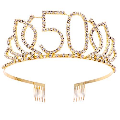 FRCOLOR - Tiara con strass e pettini, da donna, ideale come regalo per un compleanno di 50 anni, colore: oro