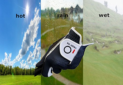 FINGER TEN Men's Golf Gloves Right Handed Left Hand 2 Pack, Hot Wet Rain Grip, Black Gray Green, Fit Small Medium Large XL (Small Green, Left)