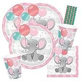 spielum Set de fiesta de 40 piezas con diseño de elefante, color rosa, platos, vasos, servilletas, pajitas, para 8 niños