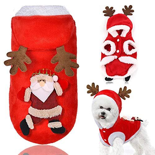 XINGKEJI Kerst Hond Kat Hoodie Katoen Jas Kleding Huisdier Warm Winter Hoodies Jumpsuits voor Vakantie Feest Kerstman Hond Kostuum met Hoed, M, Kerstman