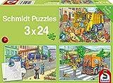 Schmidt Spiele- Carro de Basura, Coche grúa y barredora, Puzzle Infantil de 3 x 24 Piezas, Color carbón (56357)
