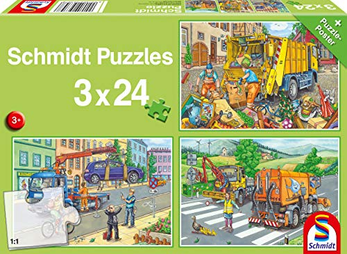 Schmidt Spiele 56357 Müllwagen, Abschleppauto und Kehrmaschine, Kinderpuzzle 3x24 Teile, bunt
