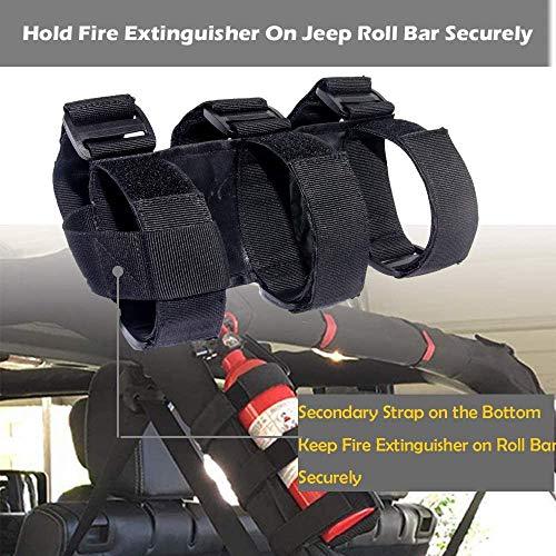 HFBlins Adjustable Roll Bar Fire Extinguisher Mount Holder, Jeep Fire Extinguisher Strap for All Series of Jeep Wrangler Fire Extinguisher Holder, Bracket Fire Extinguisher Mount