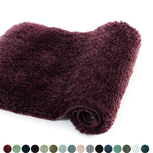 Walensee Bathroom Rug Non Slip Bath Mat for Bathroom (16 x 24, Merlot) Water Absorbent Soft Microfiber Shaggy Bathroom Mat Machine Washable Bath Rug for Bathroom Thick Plush Rugs for Shower