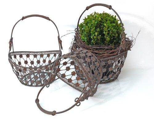 Tecla frank flechtwaren panier à anse de panier de fleurs et bac à plantes en fer Medium
