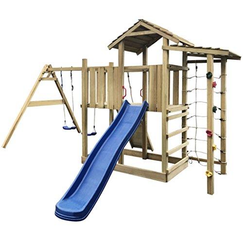vidaXL Speelhuis met Glijbaan, Ladder en Schommels Hout Speeltoestel Tuin