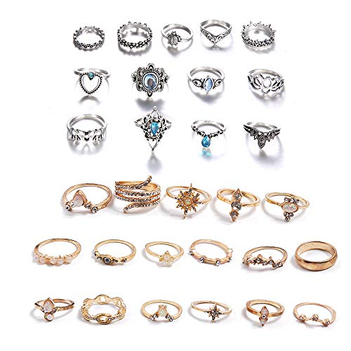 Schneespitze 30Pcs Vintage Silver Punk Silver Rings Sets,Gifts Jewellery Set Knuckle Rings Set Retro Finger Rings Boho Style Rings