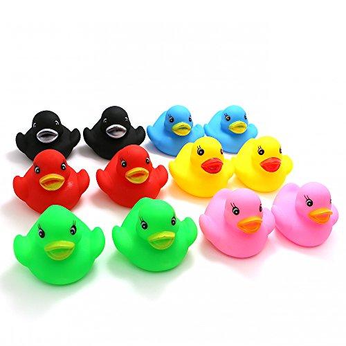 Novelty Place [Flotar y Pitar Patito de Goma Juguete para Bañera Baño del Bebé Pato de Goma para Niños Colores Variados (12 Unidades)