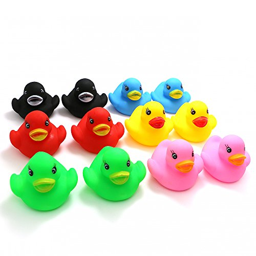 Novelty Place [Float & Squeak Rubber Duck Ducky Baby Bath Toy for Kids Assorted Colors (12 Pcs)