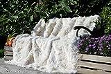 fellcastell Toscana Lammfelldecke 200x155 cm Weiss Rückseite Leder Felldecke echtes