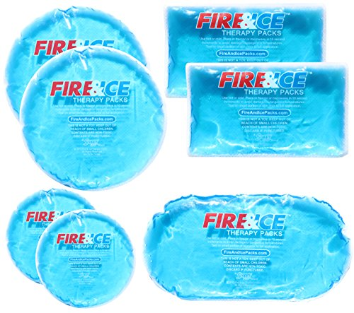 Fire & Ice Hot Cold Gel Packs-7 Reusable Packs In 4 Sizes for Multiple Applications – Muscle & Joint Pain, Sinus Relief, First Aid for Injuries, Tired Eyes, Child Boo Boos, or Keeping Lunches Cool