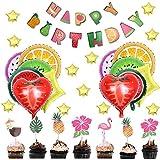 Amycute 47 Pcs Decoracion Globos de Frutas para Fiesta Infantil, Happy Birthday Banner Gran Globo de papel de aluminio Sandía,Naranja, Fresa para Fiesta de Cumpleaños, Tema de Fruta juguete niños