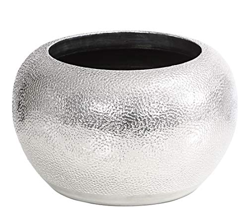 Dehner Übertopf Rosella, Ø 24 cm, Höhe 16 cm, Keramik, silber