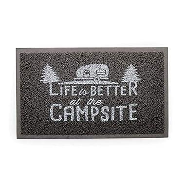 Camco Life Is Better at The Campsite Outdoor & Indoor Welcome Mat - Weather and Mildew Resistant Doormat | Traps Dirt and Liquid | Spongey Comfortable Feel | Measures 26 ½   x 15  - Gray (53200)