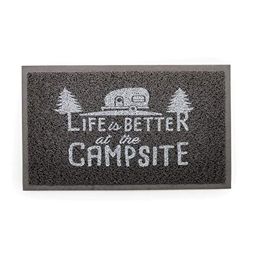 "Camco Life Is Better at The Campsite Outdoor & Indoor Welcome Mat - Weather and Mildew Resistant Doormat | Traps Dirt and Liquid | Spongey Comfortable Feel | Measures 26 ½ "" x 15"" - Gray (53200)"