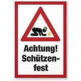 Achtung Schützenfest (Dorffest), Kunststoff Schild mit Spruch - lustiges Geschenk für ihn, Geschenkidee Geburtstagsgeschenk Männer / Jungs, Party Deko Zubehör, Scherzartikel JGA -...