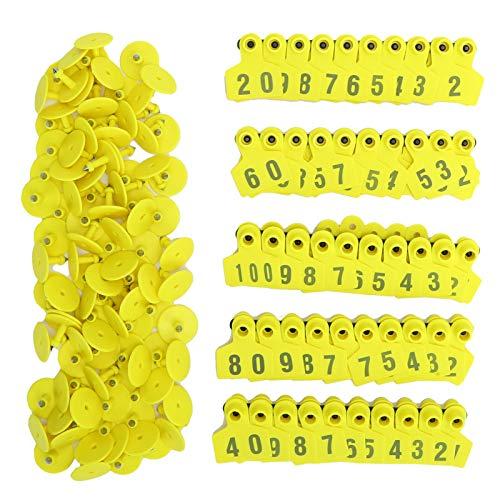 Etiqueta de oreja de cerdo n. ° 001‑100 Etiqueta de oreja de plástico para ganado Etiqueta de identificación de oreja de cerdo de granja amarilla Etiqueta de animal para cabra, oveja, cerdo, cuadrado