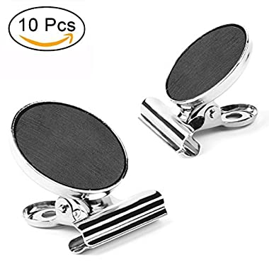 Magnetic Clips, AIEX 10 Strong Refrigerator Magnetic Hook Clips, Heavy Duty Metal Fridge/Office/Kitchen/Photo/Paper/Whiteboard Magnets (30mm Wide)