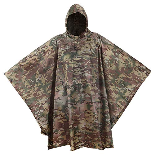 USGI Industries Military Style Poncho | Emergency Tent, Shelter, Survival | Multi Use Rip Stop Camouflage Rain Poncho (OCP)