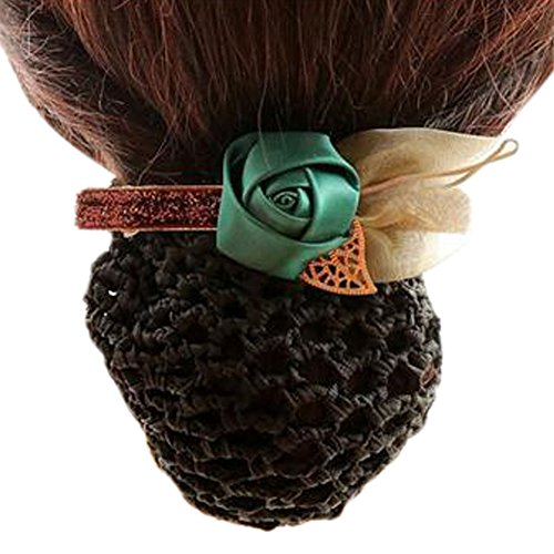 Ladies Bowtie Mesh Elastique Bun Couverture Hairnets Hair Snood, Rose Green, Rough Mesh