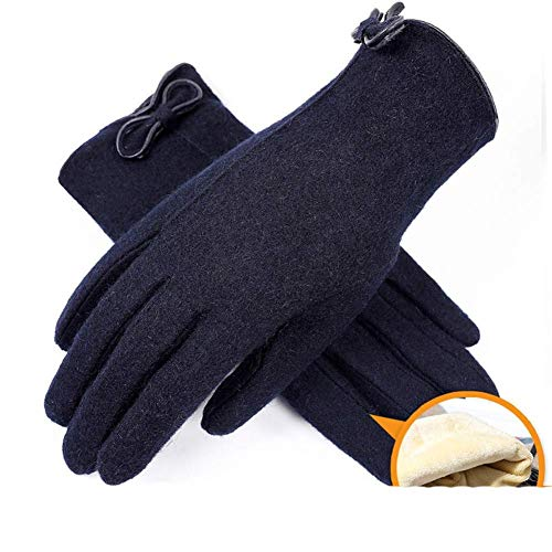 QFF Handschuhe - Outdoor-Wollhandschuhe Damen-Touchscreen-Kaschmir Herbst und Winter plus samtige, dicke, warme Radfahrer-Handschuhe mit rutschfester Fahrweise PU / 02 Modelle/na