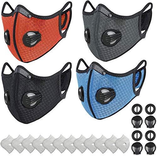 Staubmaske Fahrrad Maske Feinstaubmaske PM2.5 Feinstaubmaske mit Aktivkohlefilter für Motorrad Radsport Training Running Radfahren Ski(Schwarz)