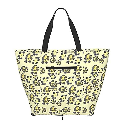 Bolso de hombro Jaguar Skin plegable para mujeres y niñas, grande, reutilizable, gran bolsa de viaje