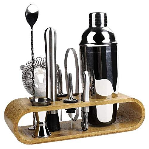 Timagebreze 10 StüCk Cocktail Shaker Set Jigger RüHrl?Ffel Tong Barware Barkeeper Werkzeuge mit Holz Lagerstand Riegel Mixgetr?Nke