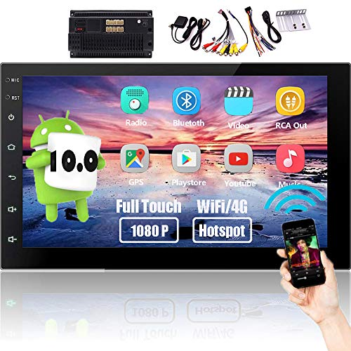 Double Din Car Stereo Bluetooth Android 10.0 Car Radio System GPS Head Unit with 7'' Touch Screen HD In dash Multimedia Player Mirror Link Support Backup Camera Input FM Radio WiFi USB MP5 SWC