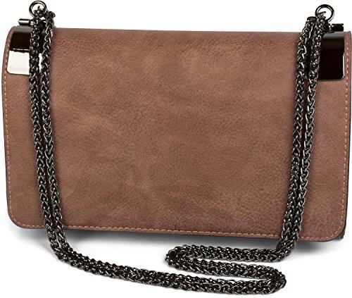 styleBREAKER Clutch, Abendtasche mit Metallspangen und Gliederkette, Vintage Design, Damen 02012046, Farbe:Altrose dunkel