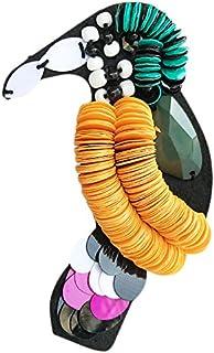 Emorias 1 Stück Brosche für Damen Stoff Vogel Schreiner Pin Kleidung Dekoration Broschen Mode Party Schmuck Elegante Accessoires Geschenk für Männer