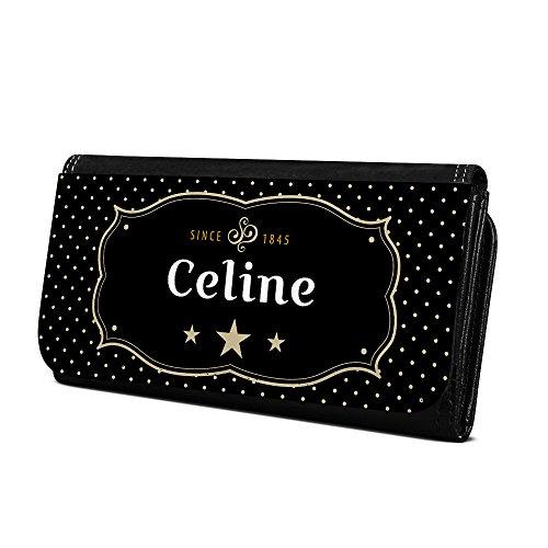 Geldbörse mit Namen Celine - Design Retro Wappen - Brieftasche, Geldbeutel, Portemonnaie, personalisiert für Damen und Herren