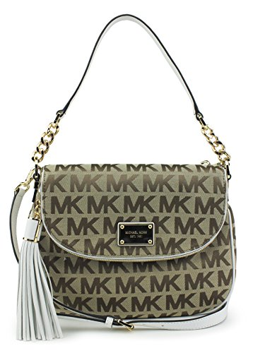 Soft MK logo durable canvas fabric with matching leather trim and polished brass hardware Measures approx. 12 inch x 9 inch x 3 inch; 20 inch leather/chain shoulder strap with 8 inch drop Second adjustable & detachable 44 inch crossbody strap; Michae...