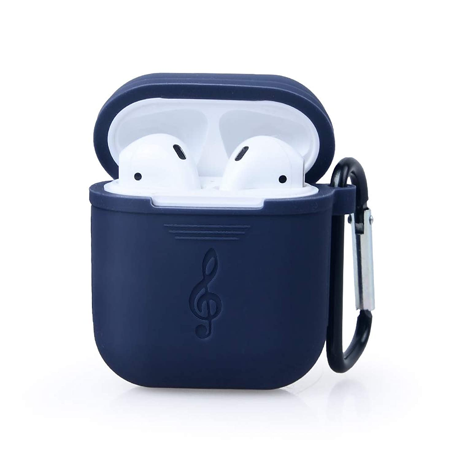 Waterproof Protective Silicone Case Cover Skin with Keychain for Apple Airpods Charging Case (Blue)