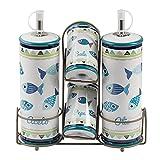 Baroni Home Menage Olio e Aceto Sale Pepe in Ceramica con Stand in Metallo Linea Pesci 21X7.5X22 cm