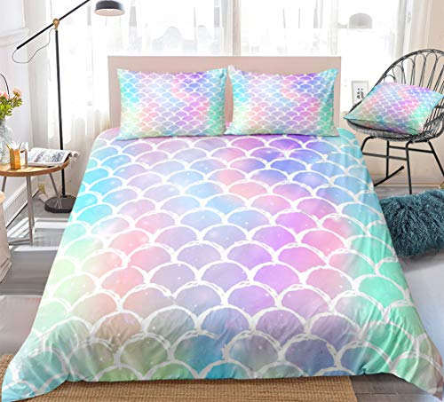 Scale Bedding Queen Mermaid Duvet Cover Set for Girls Colorful Fish Scales Printed Microfiber 3 Pieces Bedding Set (90