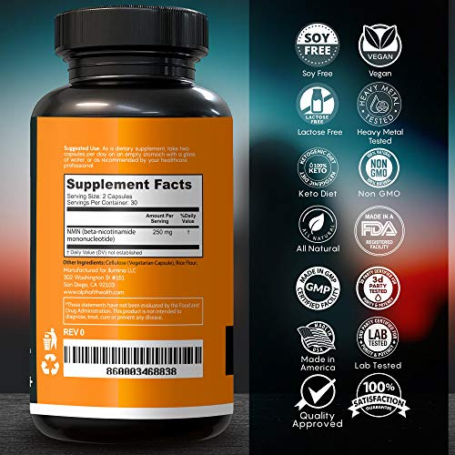 51ut+WdWrCL - NMN Supplements - NMN Nicotinamide Mononucleotide Supplement - NAD Supplement - NAD Booster Supplement - NMN Supplement NAD Plus Cell Regenerator - NMN - Anti Aging Supplement - 250mg - AlphaFit