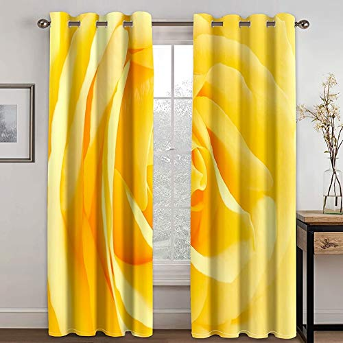 Daesar Curtains for Livingroom 2 Panel, Blackout Curtain Bedroom Flowers Living Room Window Treatments Yellow Polyester Outdoor Curtains 52x72 inch