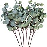 Kokmn 3 piezas de hojas de eucalipto artificiales de seda sintética, color verde, 25. 5 pulgadas de alto, verde artificial, para fiestas, hogar, decoración de bodas (verde)