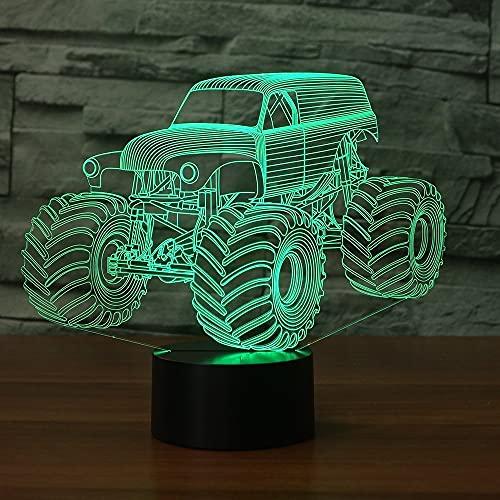 3D camión tractor faro ilusión óptica luz nocturna 7 interruptores táctiles que cambian de color luces de decoración de mesa combinación perfecta con juguetes USB planos