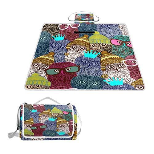 XINGAKA Picknickdecke,Wunderbare Eulen Nahtlose Muster Vektor Illustration,Outdoor Stranddecke wasserdichte sanddichte tolle Picknick Matte