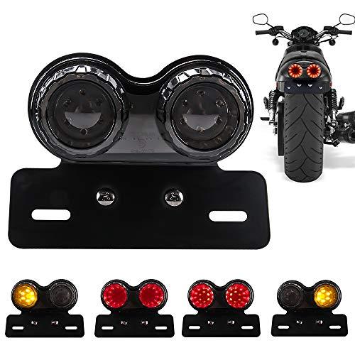 Chemini 40 W 40 LED Feu arrière de moto intégré feu de freinage Clignotant Feux de conduite Avec support de lampe de plaque d'immatriculation Pour Harley (Lentille noire)