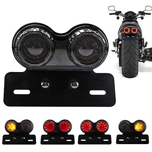 Chemini 40W 40-LED Motorcycle Tail Light Integrated Brake Light Turn Signal&Driving Light With License Plate Bracket for Harley (Black Lens)