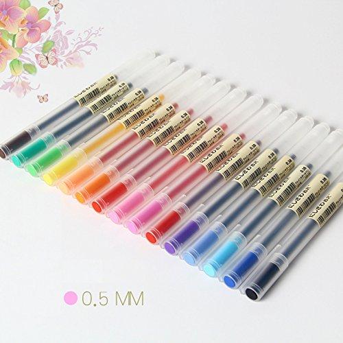 12 bolígrafos de gel de 0,5 mm, tinta de color, 12 colores