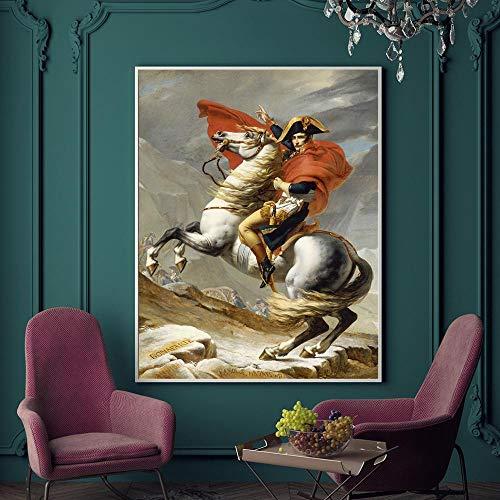 WTYBGDAN Clásico Napoleón Bonaparte Retrato Caballo Pintura al óleo Lienzo Carteles Impresiones Cuadro de Arte de Pared para Sala de Estar decoración del hogar | 50x70 cm/sin Marco