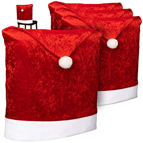 com-four® 4X Fodere per sedie di Alta qualità per Natale - Decorazioni Natalizie per sedie - Fodere per sedie Premium con Design Natalizio - Fodere per sedie