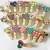 UOOM: mini mollette di legno a forma di cuore, mollette di carta per foto; idea regalo per...