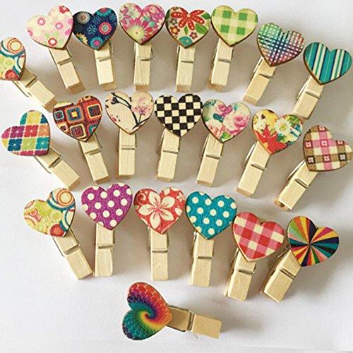 UOOM: mini mollette di legno a forma di cuore, mollette di carta per foto; idea regalo per matrimoni, decorazioni fai da te, 40 pezzi.