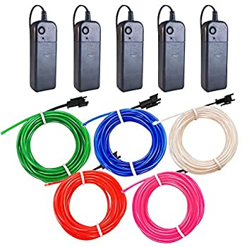 El Wire 5 Pack 9ft Neon Light with Battery Pack  Red Blue Pink Green White  for Halloween Decorations DIY Costume