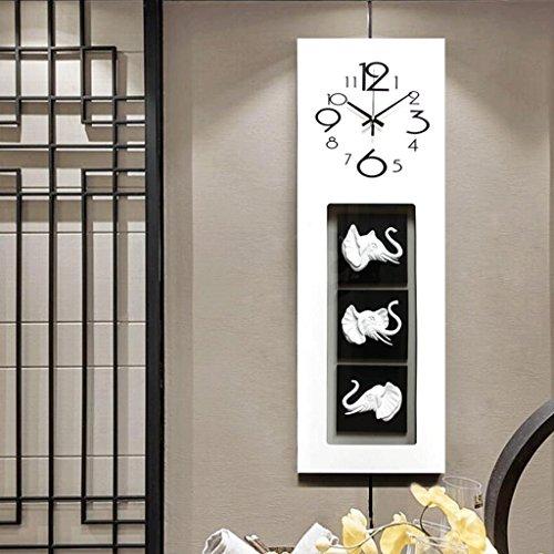 GAOLILI Éléphant Horloge Murale Salon Créatif Horloge Murale Art Horloge Décorative Ménage Mute Quartz Horloge (Couleur : Blanc, taille : 90*30CM)